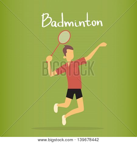 Badminton Player Sportsman Sport Competition Flat Vector Illustration