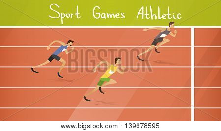 Runner Athlete Running Sprint Track Sport Competition Flat Vector Illustration