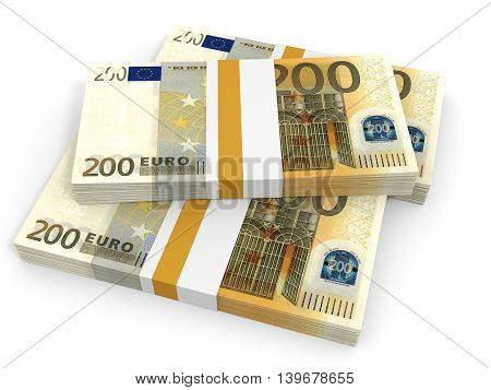 Two Hundred Euro Banknotes Background. 3D Illustration.
