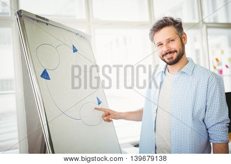 Portrait of businessman giving presentation in creative office