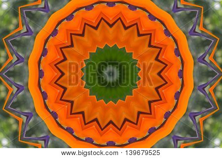 Oriental kaleidoscope fractal. Abstract pattern with orange color