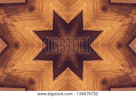 Kaleidoscope Picture With Brown Star