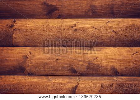 Brown wooden horizontal boards background. Part of house wall.