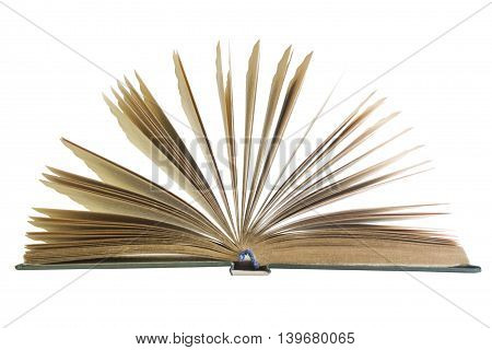 one open book isolated on white background