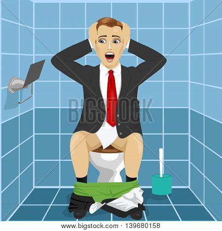 young man in business suit sitting on toilet seat upset and shocked noticing that roll without paper