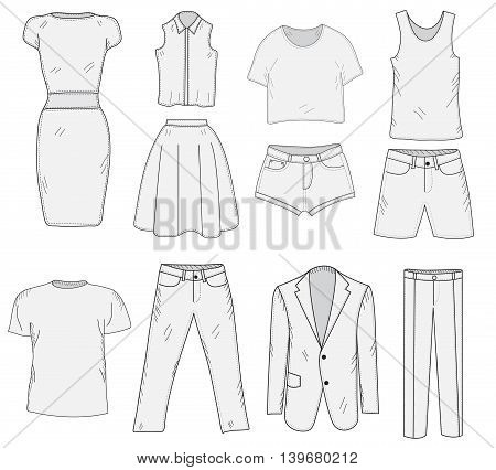 Men's and Women's Clothing set sketch. Clothes hand-drawing doodle style. Clothes vector illustration.
