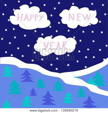 New Year's card with night sky clouds and spruce forest. Vector illustration
