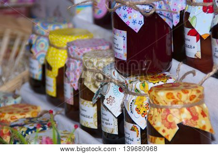 Home-made jams of different varieties of the open city festival of folk art culture