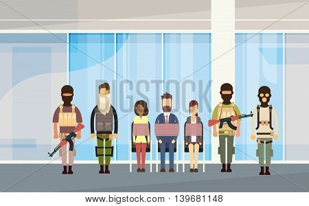 Terrorist Group Holding Hostages Terrorism Concept Flat Vector Illustration