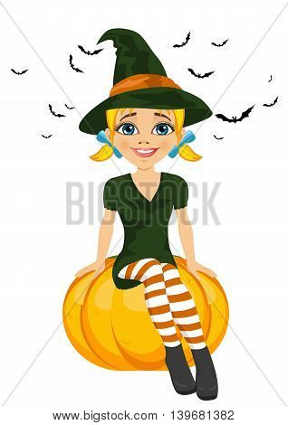 Illustration for Halloween with a cute witch sitting on pumpkin