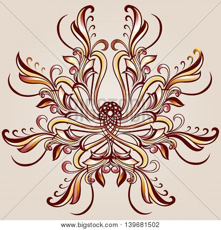 Florid pattern of brown henna on beige background