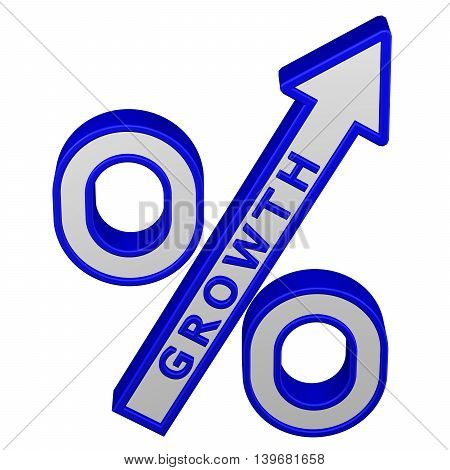 Concept: percent growth. Percent sign with arrow with growth isolated on white background. 3D rendering.