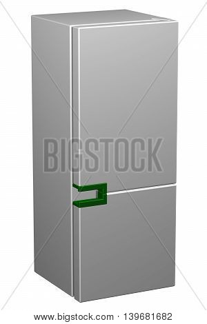 White refrigerator with green handle isolated on white background. 3D rendering.