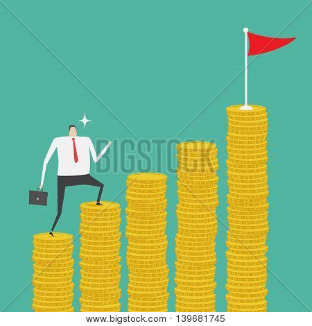 Businessman climbing up the stack of golden coin ladder