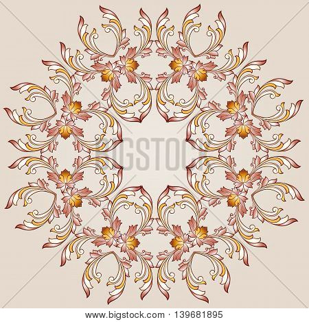 Flower round pattern of brown henna on beige background