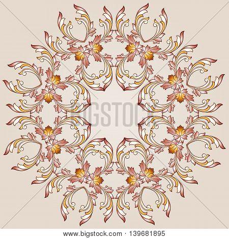 Flower round pattern of brown henna on beige background