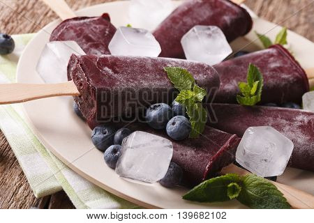 Tasty Blueberry Popsicles On A Stick Macro On A Plate. Horizontal