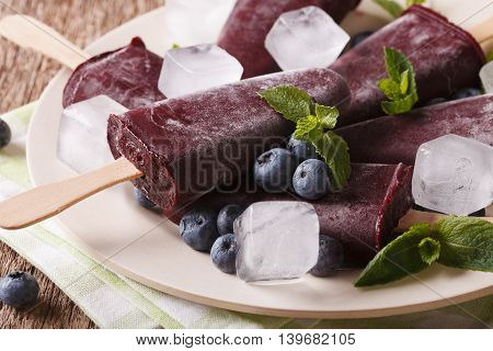 Delicious Blueberry Sorbet On A Stick Macro On A Plate. Horizontal