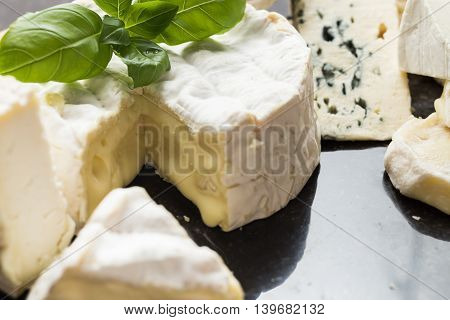 Cheese Assorted On A Table Background. Variety Sorts For Appetizing, Gourmet, Delicious Snacks. Trad