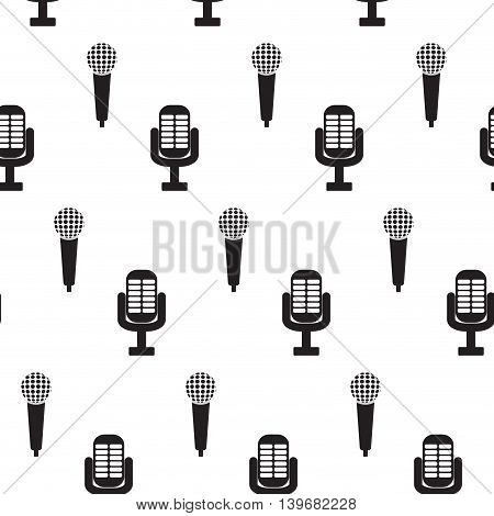 Vintage monochrome microphone seamless pattern. Audio and sound karaoke background illustration vector