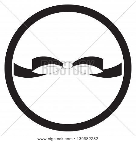 Bow icon flat black white. Ribbon xmas and knot bow for birthday vector illustration