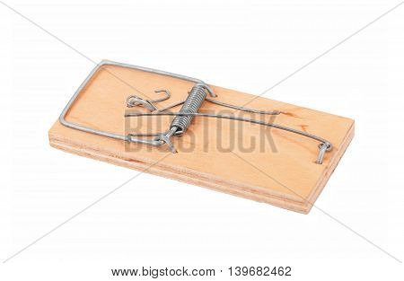 Small mouse trap isolated on a white background