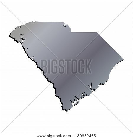3D South Carolina Aluminium outline map with shadow
