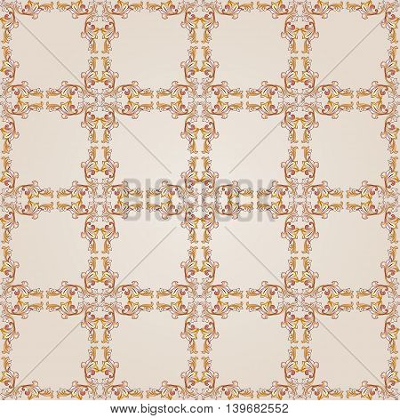 Square floral pattern of brown henna on beige background