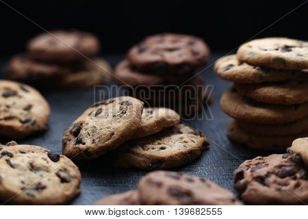 Cookies With Chocolate Chip  On Dark Wooden Background