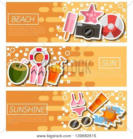 Set of Horizontal Banners about Beach. Vector illustration, EPS 10