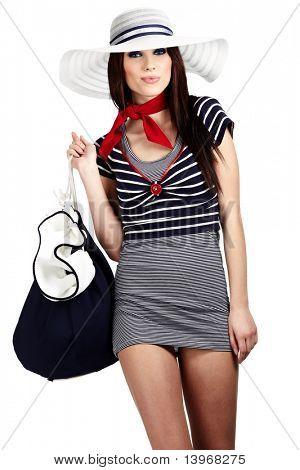 Estilo de moda mulher e marinheiro
