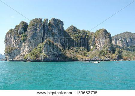 Limestone cliffs in Krabi province, Railay, Thailand