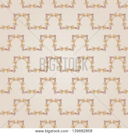 Seamless floral curve line of brown henna on beige background