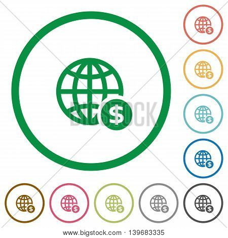 Set of Online Dollar payment color round outlined flat icons on white background