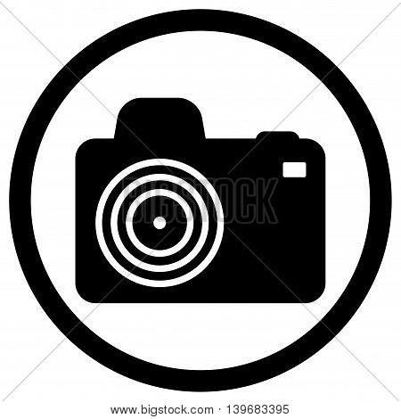 Black camera photo. Photo camera isolated and digital camera in monochrome style. Vector illustration