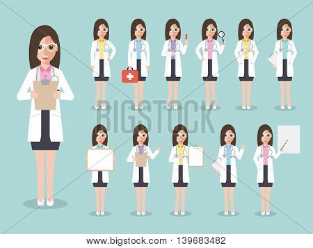 Group of female doctors women medical staffs. Flat design people characters.