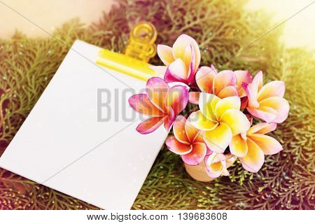 Vintage Dreamy Retro Style Flowers With Blank Paper Note Pad