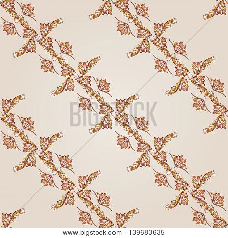 Seamless diagonal foliate pattern of brown henna on beige background