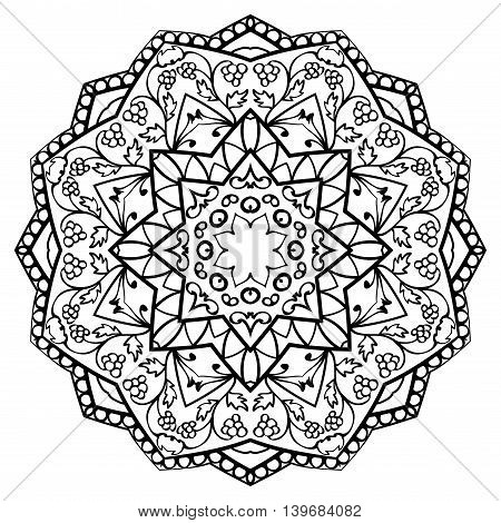 Vector ornate mandala with floral elements isolated on white background. Oriental round ornament. Template for embroidery.