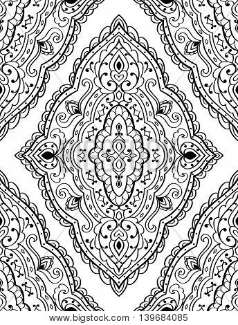 Oriental abstract ornament. Templates for carpets textiles and any surface. Seamless vector pattern of black contours on a white background.