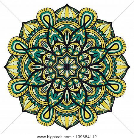 Seamless vector ornate mandalas. Template for any surface. Oriental filigree yellow and blue ornament.