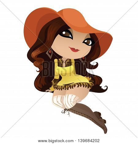 Beautiful long-haired girl in a hat. Cute character pin-up girl in a hat for your design. Vector illustration.
