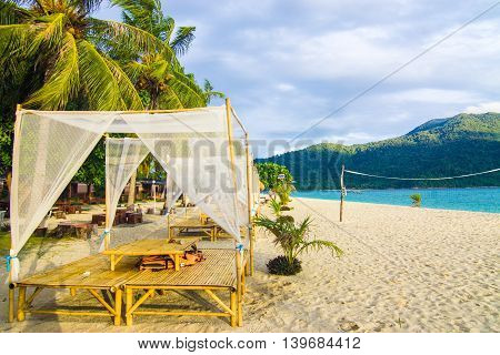 Tropical Beach Bed With Sun Flare