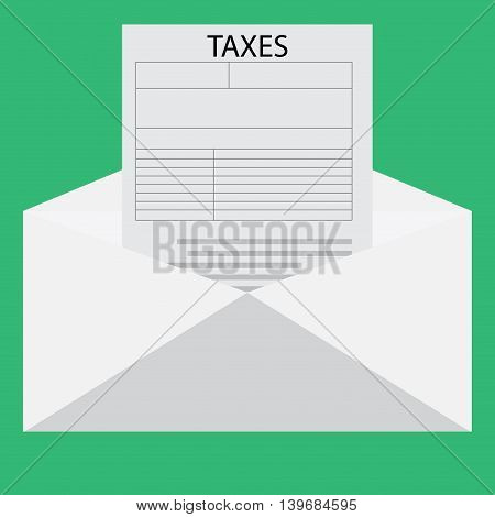 Letter with tax declaration. Accounting money and tax forms vector illustration