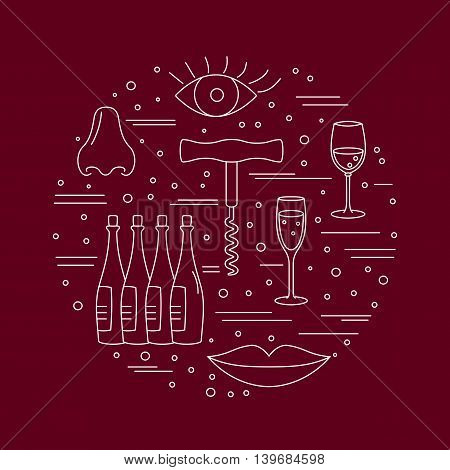 Winery icons arranged in circle composition isolated on red background. Winemaking wine tasting template for banner flyer t shirt book cover. Winery symbols in line style. Vector illustration.