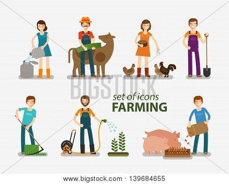 Farming, cattle breeding set of icons. People at work on the farm. Vector illustration