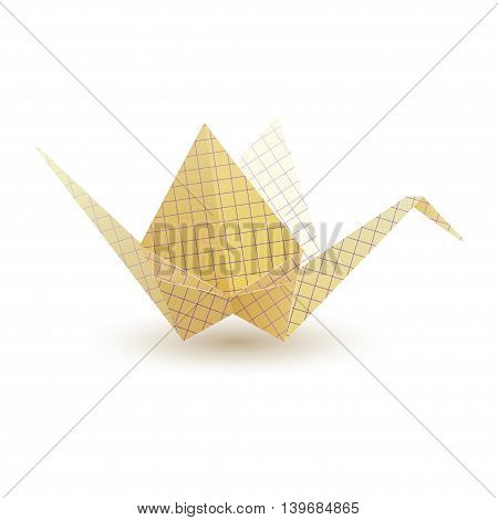 Paper crane origami from paper checkered. Vector illustration.