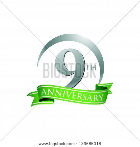 9th anniversary green logo template. Creative design. Business success