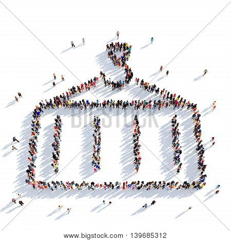 Large and creative group of people gathered together in the shape of container shipping. 3D illustration, isolated against a white background. 3D-rendering.