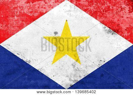 Flag Of Saba, Netherlands, With A Vintage And Old Look